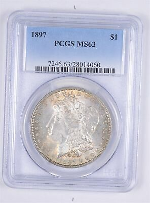 Choice Unc 1897 Morgan Silver Dollar - Graded PCGS - MS-63 *721