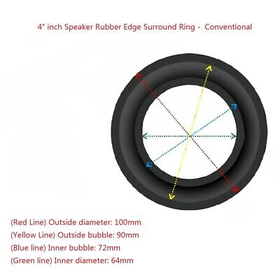 """2x 4"""" Inch Conventional Rubber Edge Kit for Subwoofer Diaphragm Surround Ring"""
