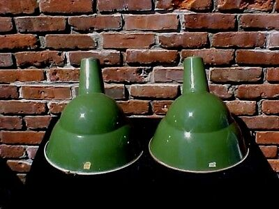 "2 Vtg Industrial Light Angled 14"" Dia Fixture Green Porcelain 1 Benjamin 1 Union"