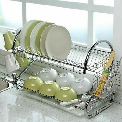 Kitchen Dish Cup Drying Rack Holder Sink Drainer 2 Tiers Stainless Steel Holder