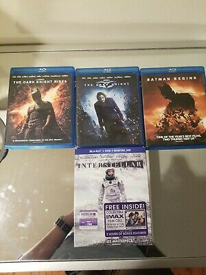 4 blu ray lot of Christopher Nolan movies (batman, dark knight, interstellar....