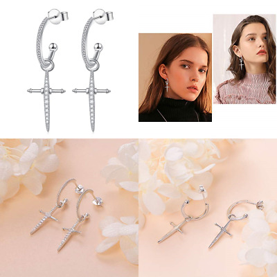 Dangle Cross Earrings Cz  Earrings 925 STERLING SILVER Dangling Cross Hoop Earri