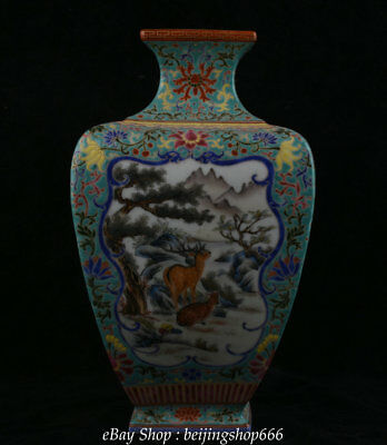 "12"" Qianlong Marked Colour Enamels Porcelain Dynasty Deer scenery Bottle Vase"