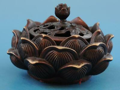 Chinese old copper hand-carved lotus incense burner e02