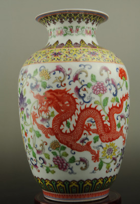 Chinese old hand-made colour enamels porcelain longfeng pattern vase c01