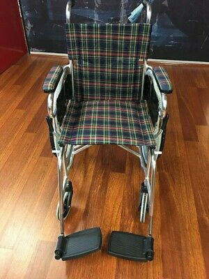 CARE 18 Inch Folding Wheelchair with Park Brakes Folding Legholders