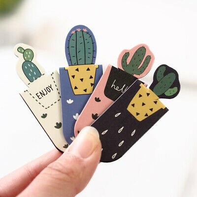 3pcs /Set Fresh Cute Cactus Magnetic Bookmarks Books Marker of Page