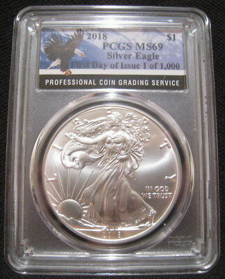 2018 $1 American SILVER EAGLE PCGS MS69 First Day Issue 1 of 1000 Eagle Label ~~