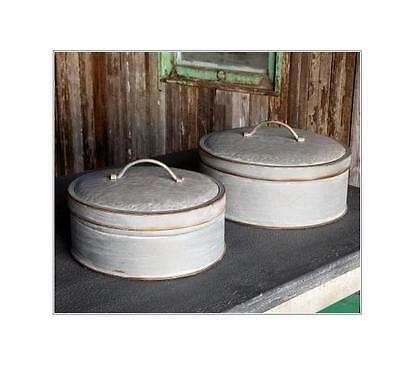 Vintage Industrial Style Storage BIN-Large COVERED-Galvanized Container