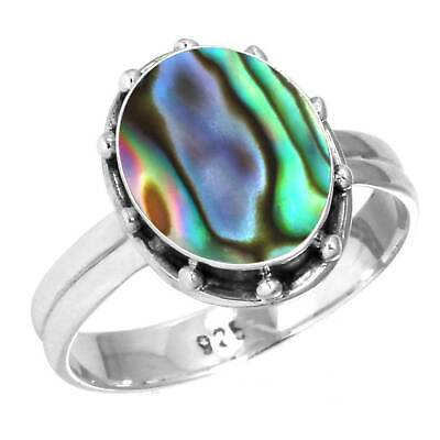 Natural Abalone Shell Ring 925 Sterling Silver Handmade Jewelry Size 6 UL76263