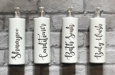 Set of 4 Labelled 500ml Hand Pump Bottles for Bathroom/Kitchen/Home in White