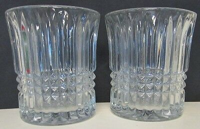 Crystal Rock Glasses Vertical Ribs Blocks Set of 2 Flared Rim