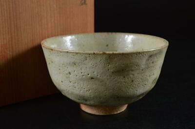 S909: Japanese Kiyomizu-ware White glaze TEA BOWL Green tea tool w/box