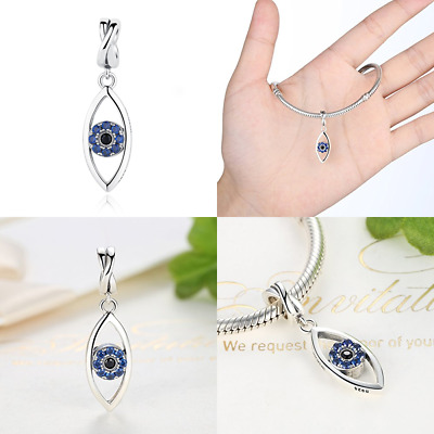 925 STERLING SILVER Evil Eye Necklace Pendant For Women Hamsa BLUE Charm Bracele