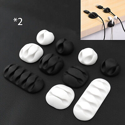 Black/White Cable Clips Tidy Cord Lead Organiser USB Charger Holder Drop 10x