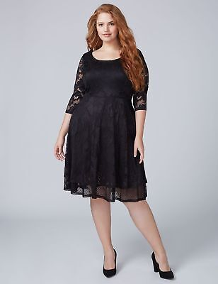 69557a521e  99.95 NEW BLACK Lace Party Dress LANE BRYANT Cruise Wedding 3x 4x ...