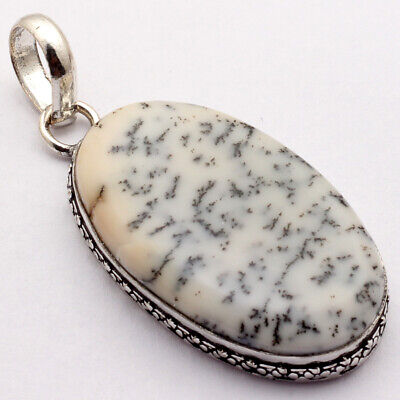 """ZB1669 Dendritic Agate & 925 Sterling Silver Plated Handmade Pendant 2"""" Jewelry"""