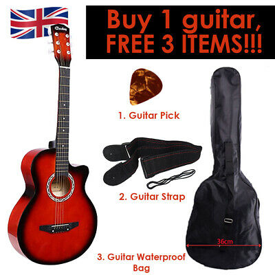 """Red Acoustic Classic Guitar 3/4 Size 38"""" with 3 FREE items Strap, Picks, Bag UK"""
