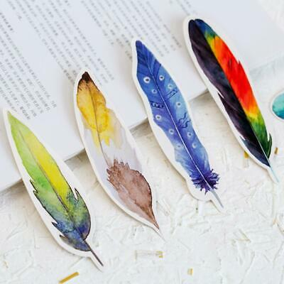 30 Pcs/lot Cute Creative Colorful Feather Paper Bookmark Stationery Clip Dchool