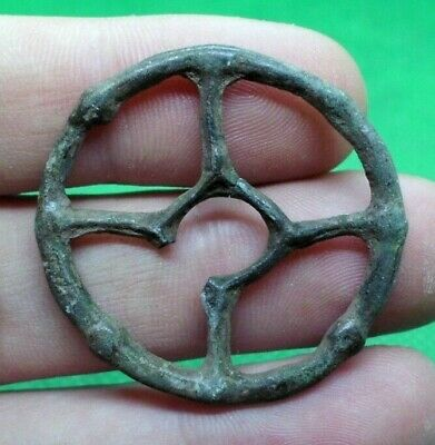 Ancient Celtic Druids Bronze Solar Wheel Amulet - Complete / Wearable - 500 Bc