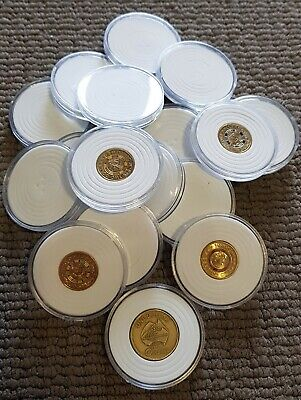 Round Coin Capsules × 5. Suits Australian 1$ and $2 Coins. Adjustable inner Pad.