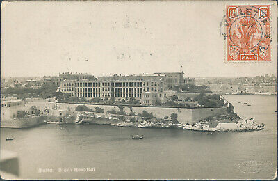 1924 MALTA BIGHI HOSPITAL real photo PPC to ITALY stamped