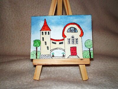 Original Ink & Watercolour Painting ACEO – Quirky Street No. 1 - RGS-ART