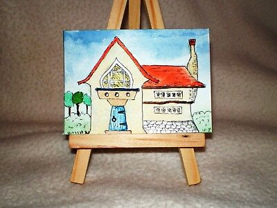 Original Ink & Watercolour Painting ACEO – Quirky Street No. 2 - RGS-ART