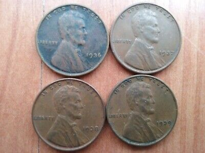 1936 P, 1937 P, 1938P & 1939 P Lincoln Cents - Extra Fine Cond, Not Stock Photo