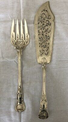 Francis Higgins 1871 Sterling Silver Fish Servers Solid Silver Antique