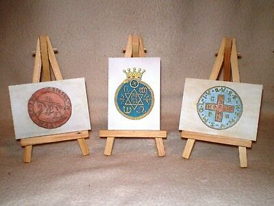 3 -ACEO Prints of Original Paintings Esoteric Signs & Symbols RGS-ART