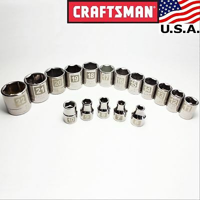 "New ~ 6 to 22mm ~ Craftsman USA-made Socket Set, 17pc - 3/8"" drive, Metric, 6-pt"