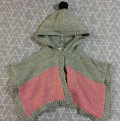 Cotton On Baby Girls Hooded Poncho 6-12 Months 0