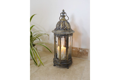 Extra Large Metal Garden Lantern Candle Holder Antique French Vintage Style