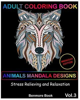 Adult Coloring Books Animal Mandala Designs Midnight Edition by Book Benmore
