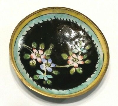 Old Chinese bronze Brass Copper Cloisonne Enamel Flowering Tree dish plate tray