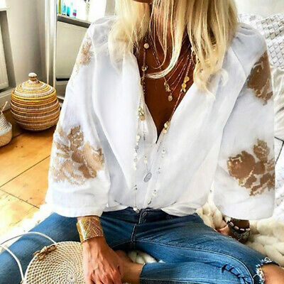 1pc Mode femmes Casual  col en V  Printed manches longues blouse pull chemises