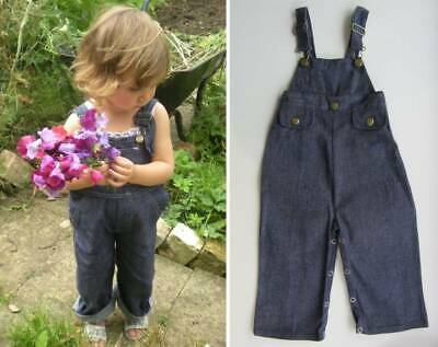 Childrens dungarees vintage 70's denim rockabilly new age 18 months - 2 years