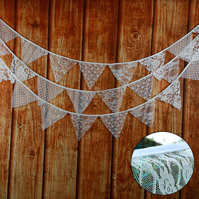 3.2M 11 Flags Lace Bunting Wedding Party Lace Banner White Birthday Ceremony