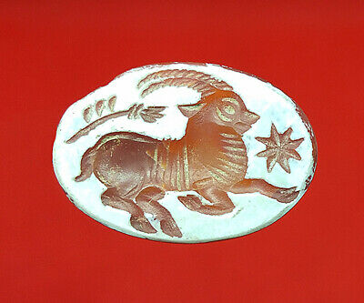 Near Eastern Agate Red Stone Intaglio Deer Stamp Seal Wax Oval Shape Bead BCD602