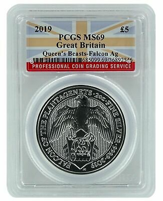 2019 Great Britain 2oz Silver Queens Beast Falcon PCGS MS69 - Flag Label