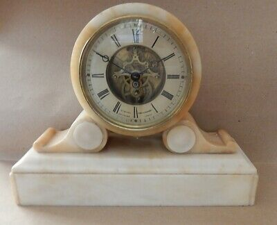Superb Mce Moses French 19th. Cen. Alabaster  Mantel Clock. Fully working 2930