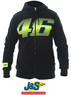 VR46 Fleece Valentino Rossi Hoodie Mens Zipped Top Motorcycle Black Yellow J&S