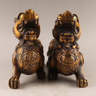 A pair Antique China old handmade bronze pixiu Brave troops Statues Decoration
