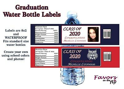 30 2019 Graduation Water Bottle Labels Personalized with photo and school colors