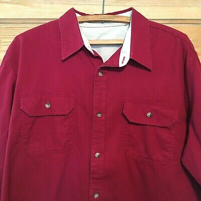WRANGLER Med Shirt, LS, 100% Med Weight Cotton, Button down, Dark Cranberry Red