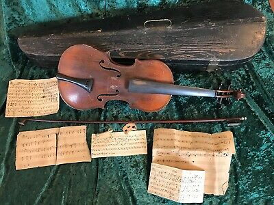 Antique Violin -Francis Friedel Alburtis, Pa -W/ Nice Wooden Coffin Style Case