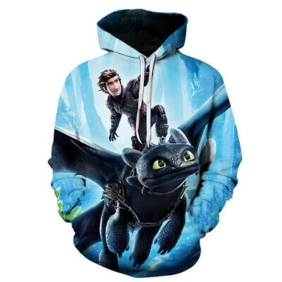 Women Men 3D New Hoodies Pullover Print Film How To Train Your Dragon Sweatshirt