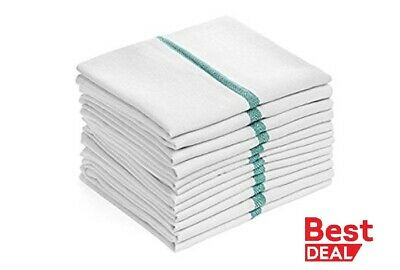 "Dish towels 12 Pack Absorbent White Cotton GREEN Striped 15 x 25"" Kitchen cotton"