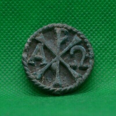 Ancient Roman Bronze Chi-Rho Christogram Medal - 400 Ad